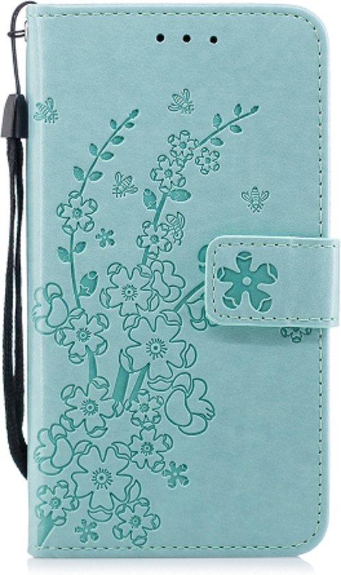 Apple Iphone 7 / 8 Bookcase hoesje bloemen en takjes (mintgroen)