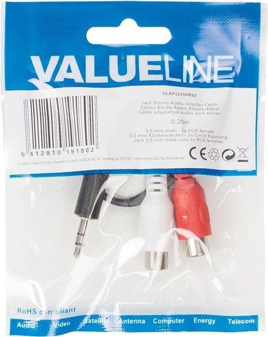 Valueline 3,5 mm naar RCA kabel Male - Female 0,2 meter zwart