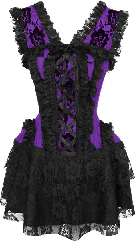 70155aaad34a2d Zwart  Paars corset jurk met stalen baleinen