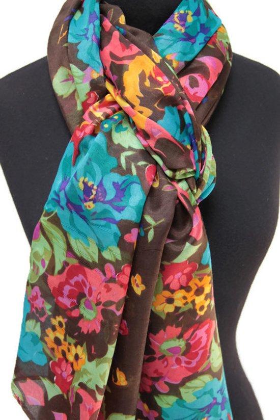 8e04cb2f9a4ede Dames sjaal met bloemen - viscose - bruin - turquoise - groen - geel - roze
