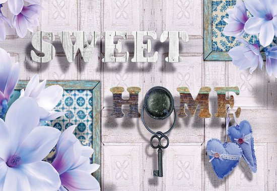 Fotobehang Sweet Home Flowers | XXL - 312cm x 219cm | 130g/m2 Vlies