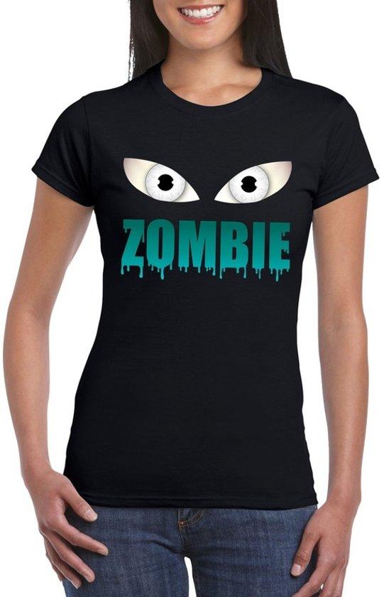 Halloween zombie ogen t-shirt zwart dames - Halloween kostuum XL