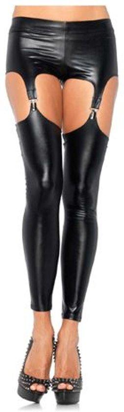 Wet look legging jarretels Medium