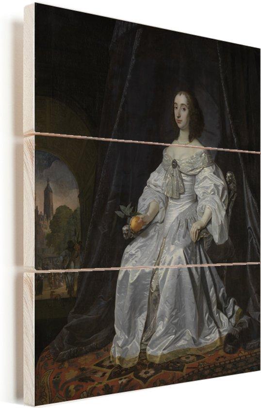 Kunstreproductie van het Portret van Maria Henriëtte Stuart - Schilderij van Bartholomeus van der Helst Vurenhout met planken 60x80 cm - Foto print op Hout (Wanddecoratie)