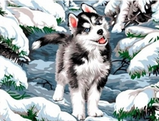 Artibalta Diamond painting kit Little Husky AZ-1284 50 x 40 cm