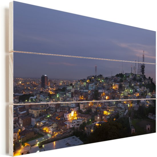 Donkere wolken boven Guayaquil in Ecuador Vurenhout met planken 120x80 cm - Foto print op Hout (Wanddecoratie)