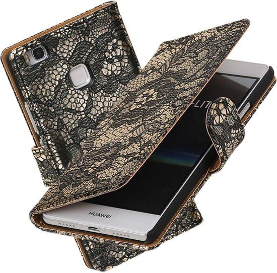 MP Case Lace - bloem design zwart hoesje voor Huawei P9 lite Booktype - Telefoonhoesje - smartphonehoesje - beschermhoes. in Nuis
