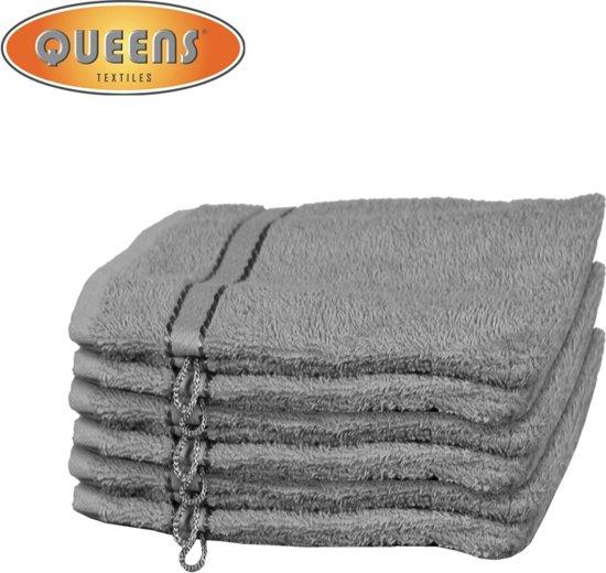 Queens® Washandje - 6-pack Washandjes 15x21 - 500 gr/m2 - Grijs