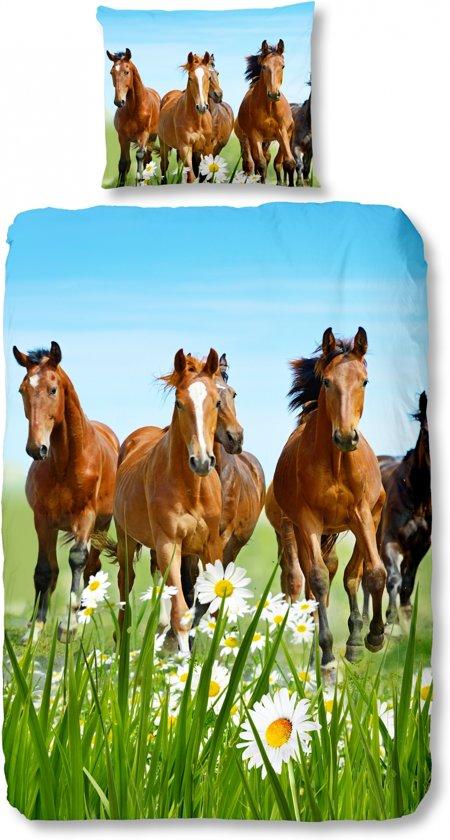 Good Morning 5316-P Paarden - Kinderdekbedovertrek - Katoen - Eenpersoons - 140x200/220 cm - Multi