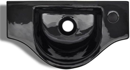 vidaXL Wastafel met kraangat zwart keramiek