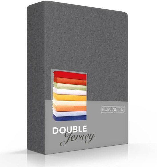 Romanette Hoeslaken Double Jersey Antraciet-80/90/100 x 200/210/220 cm