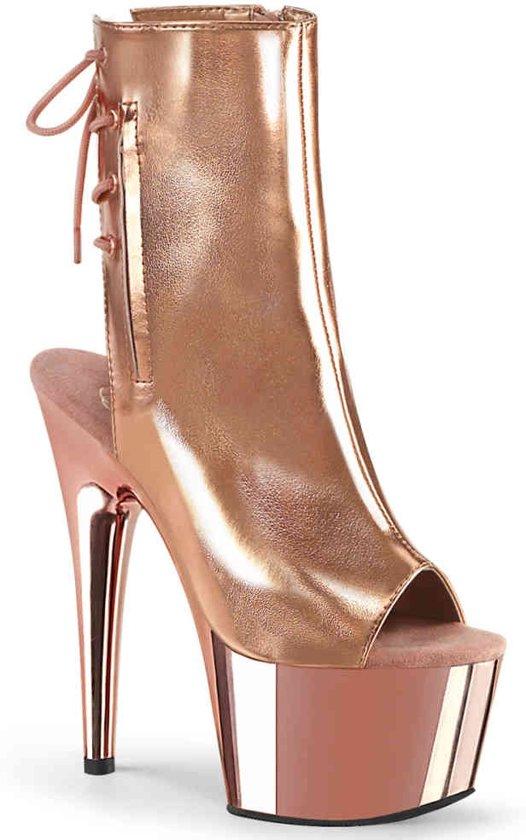 Pleaser Enkellaars -39 Shoes- ADORE-1018 Roze/Goudkleurig