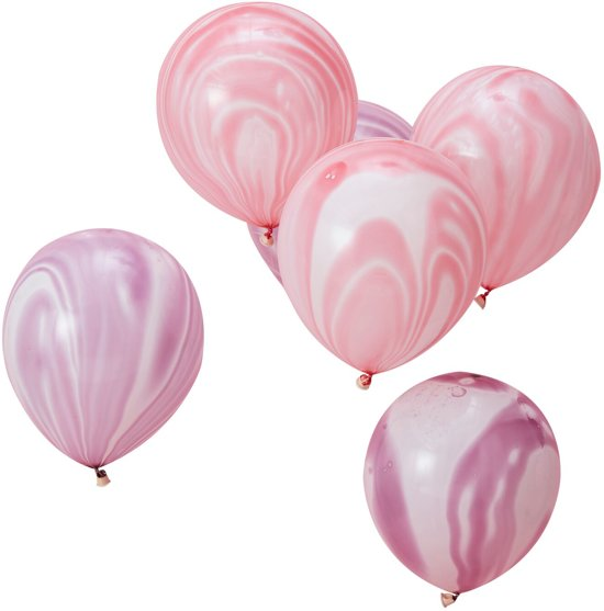 Ginger Ray Make a Wish - Marble ballon verjaardag Ø 28 cm - paars & roze - Set-10 Valentinaa