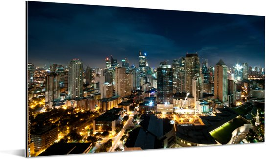 Nachtfoto van Manila Aluminium 40x20 cm - Foto print op Aluminium (metaal wanddecoratie)