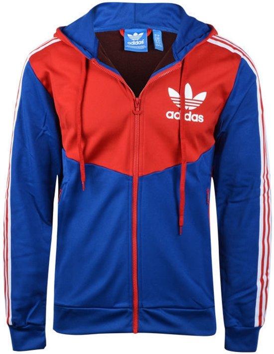 69ec5e8f853 Adidas Originals Hooded Flock Mannen - Rood/Blauw - Adidas Originals - Maat  XL