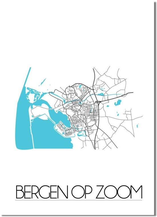 Plattegrond Bergen op Zoom Stadskaart Poster DesignClaud - Wit - A4 + fotolijst zwart