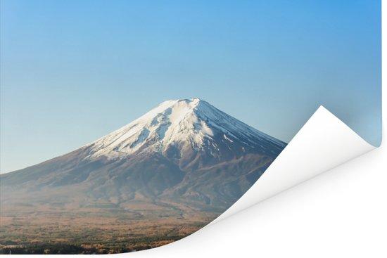 Blauwe lucht boven de Fuji berg in Azië Poster 60x40 cm - Foto print op Poster (wanddecoratie woonkamer / slaapkamer)