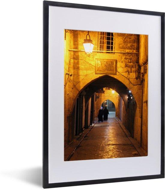 Foto in lijst - Straatbeeld van Aleppo in Syrië fotolijst zwart met witte passe-partout klein 30x40 cm - Poster in lijst (Wanddecoratie woonkamer / slaapkamer)