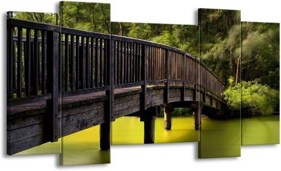 Canvas schilderij Brug | Groen, Grijs | 120x65 5Luik