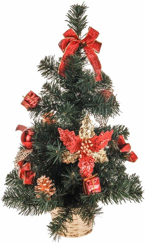 kerstboom met versiering roodgoud 50 cm