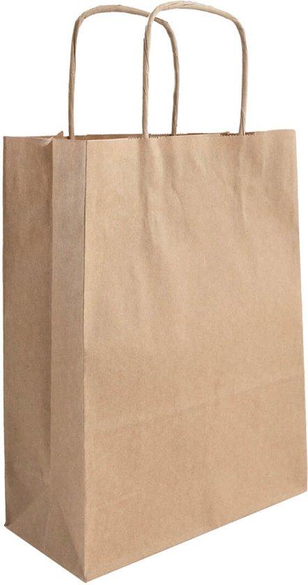 50x papieren tassen bruin kraft   32x12x41cm  32x12x41cm