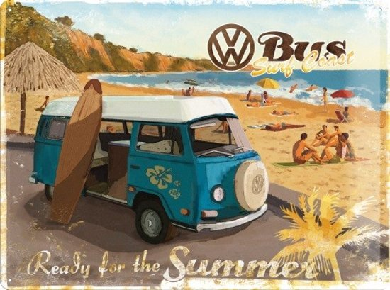 VW Bus Surf Coast Ready For The Summer  Metalen wandbord in reliëf 30x40 cm