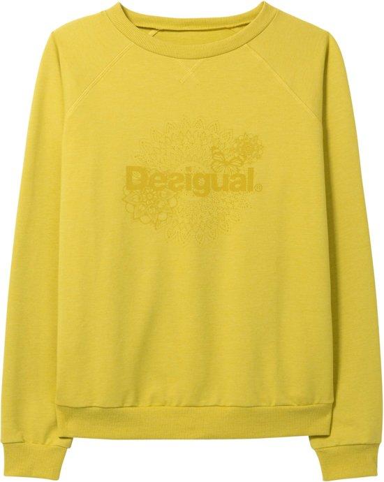 b9c83f614c3 Desigual Crew Neck Essentials Sweater Dames Sporttrui - Maat XL - Vrouwen -  groen/geel