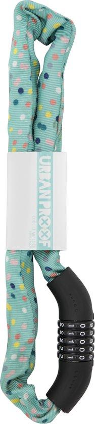 URBAN PROOF Kettingslot - Cijferslot - 90 cm - Stippen Confetti Mint