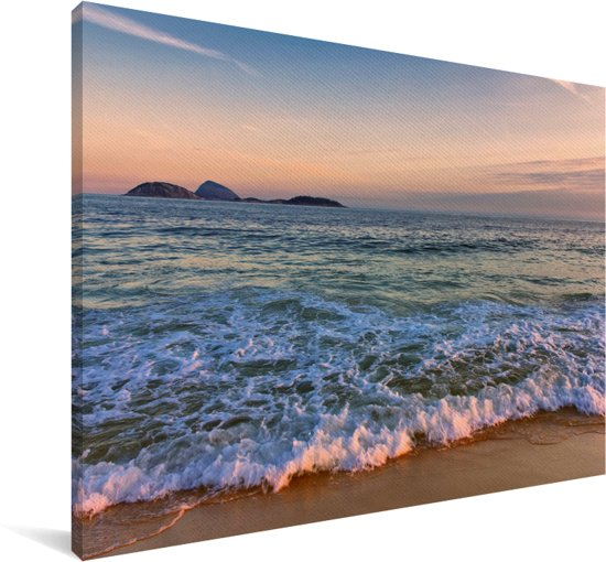 Zicht over de zee van het Braziliaanse strand van Ipanema Canvas 140x90 cm - Foto print op Canvas schilderij (Wanddecoratie woonkamer / slaapkamer)