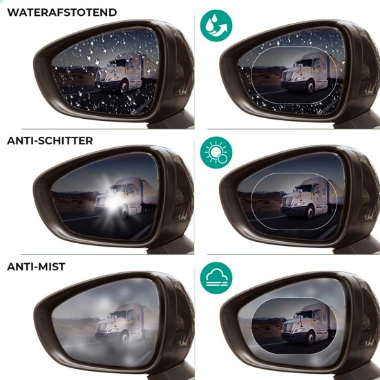 Auto  Zijspiegel Voor Veilig Zicht Onderweg - Zijspiegels – Buitenspiegel - 4x Nano Coating spiegelstickers