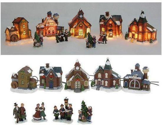 Kerstdorp met verlichting (9 delig)