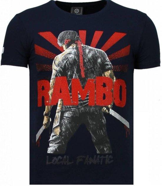 Local Rambo MatenL ShineRhinestone shirt Navy Fanatic T PkiuXZ