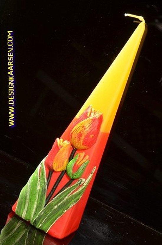 Tulp, Kaars Piramide, 24 cm GEEL ROOD