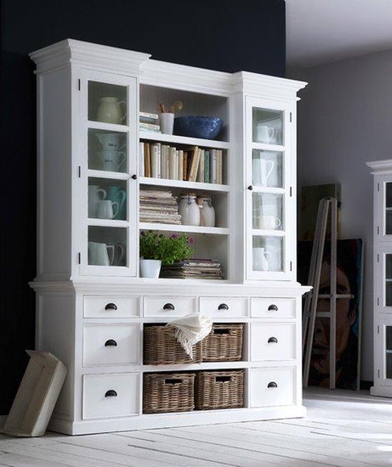 bol.com | Boekenkast Wittevilla glazen deuren, lades en manden