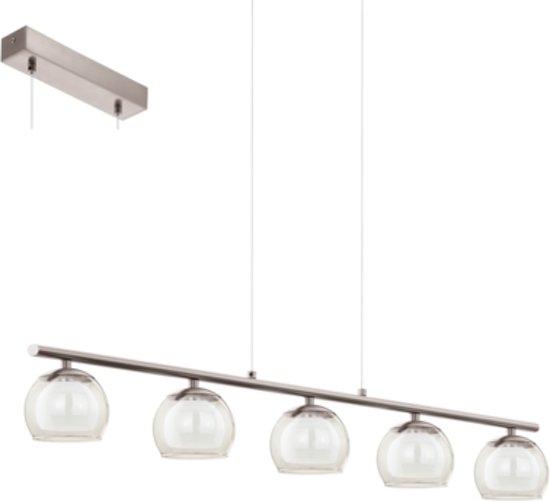 EGLO Ascolese - Hanglamp - 5 Lichts - Lengte 900mm. - Nikkel-Mat - Amber, Wit
