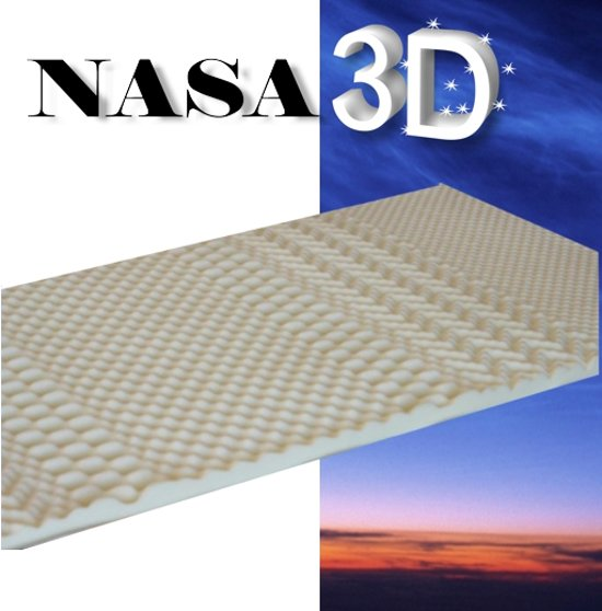 Topdekmatras met NASA 3D - 90x200 cm - 7-8cm dik