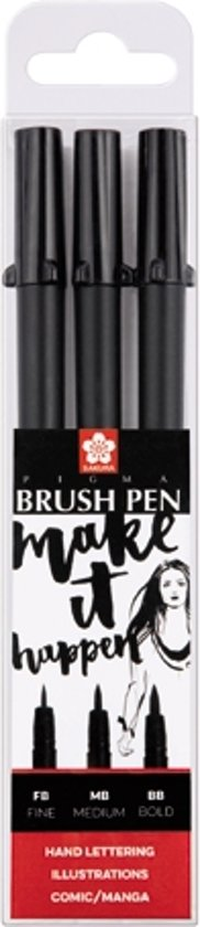 Pigma Brush Pen set 3 diepzwarte brushpennen Fine-Medium-Bold
