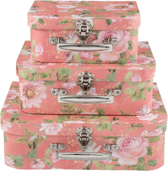 Decoratie kartonnen (3) kofferset van Clayre & Eef
