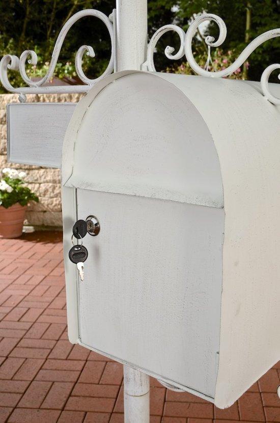 Clp Brievenbus CHARLIZE, vrijstaande nostalgische brievenbus, mailbox, 150 cm, met naamplaatje, ontwerp nostalgisch antiek - antiek-wit