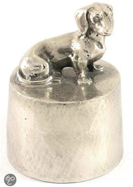 Hok Asbeeld/urn zilvertin teckel 8 cm