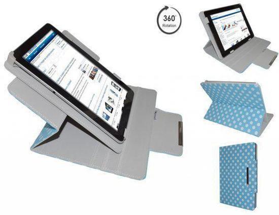 Aoc Breeze Tablet Mw1031 3g Diamond Class Polkadot Hoes met 360 graden Multi-stand, Blauw, merk i12Cover
