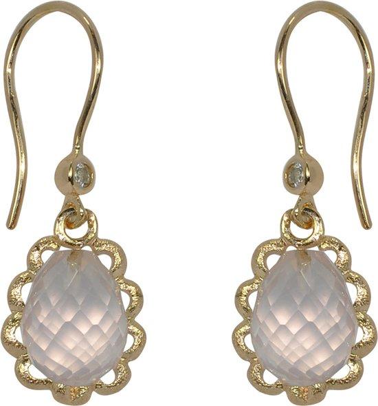 Blossom Copenhagen - Zilveren oorhangers Geelgoudverguld - Druppel van rozenkwarts