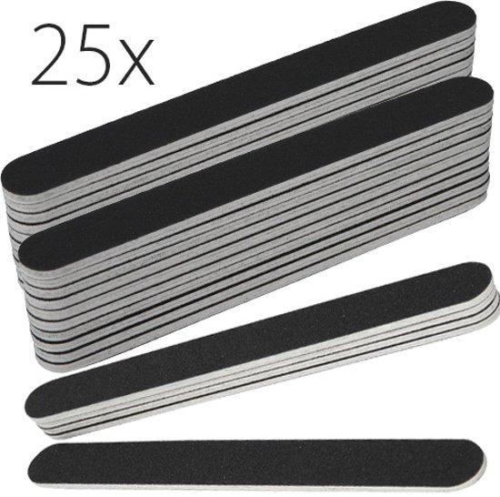 25x rechte nagel vijlen, zwart