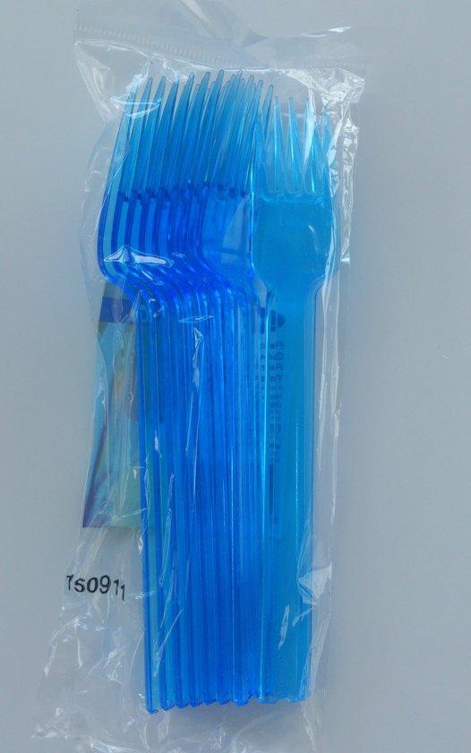 Dessertvork blauw plastic
