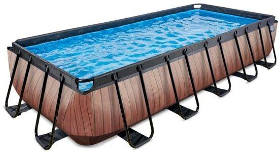EXIT zwembad Wood 540x250cm met zandfilterpomp - bruin