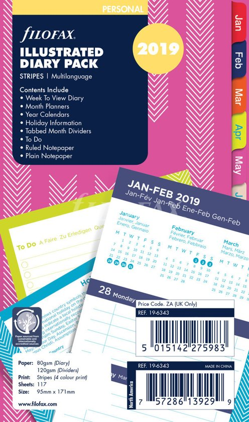 FLB PERSONAL PER ILLUSTRATED STRIPES WEEK ON 2 PAGES DIARY AND FILL 2019