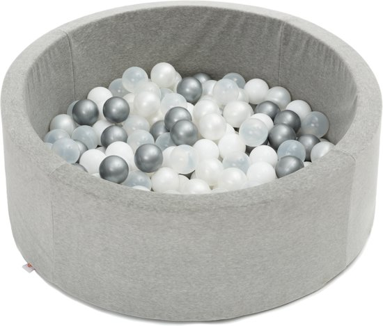 FUJL - Ballenbak - Speelbak - Lichtgrijs - ⌀ 90 cm - 200 ballen - Kleuren - Zilver - Parel  -Wit - Transparant
