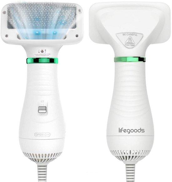 LifeGoods - 2 in 1 hondenföhn - Wit - 300 W - Inclusief waterblazer en borstel