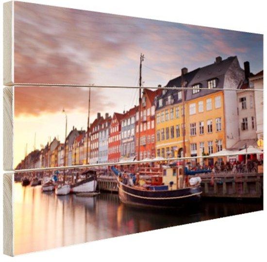 Zonsondergang Nyhavn Hout 160x120 cm - Foto print op Hout (Wanddecoratie) XXL / Groot formaat!