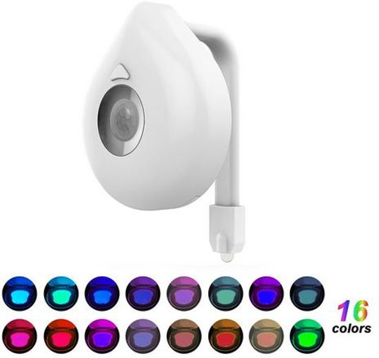 bol.com | Automatische toilet LED verlichting - 16 kleuren